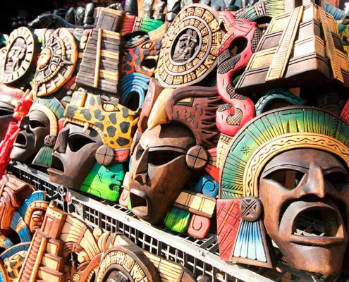 Wooden masks carved in the Yucatan